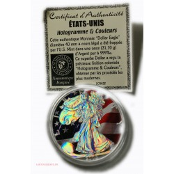 USA- 2005 DOLLAR Eagle colorisée or 24 carats & Hologramme + Certificat