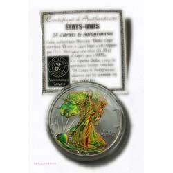 USA- 2005 DOLLAR Eagle colorisée & Hologramme + Certificat