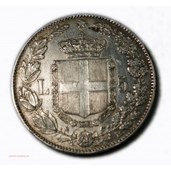 ITALIE - 5 LIRE 1879 error FKT sur tranche R5, lartdesgents.fr