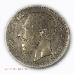 BELGIQUE - LEOPOLD II 1 Franc 1887 sans point, lartdesgents.fr