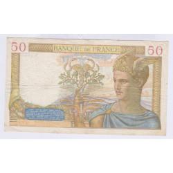 BILLET FRANCE  50 FRANCS CERES 13-07-1939  L'art des gents  Numismatique Avignon
