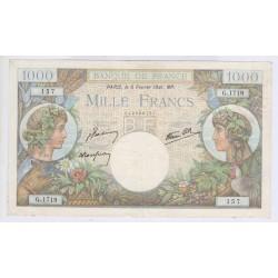 BILLET FRANCE 1000 FRANCS COMMERCE ET INDUSTRIE 06-02-1941 TTB L'art des gents Numismatique Avignon