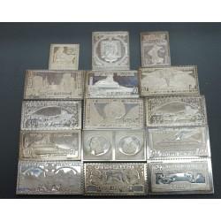 15 lingotins en argent représentant les grandes raretés de la philatélie Française