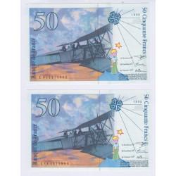 lot 2 BILLETS FRANCE 50 Francs Saint Exupéry 1992 NEUFS L'art des gents  Numismatique Avignon