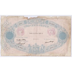 BILLET FRANCE 500 FRANCS BLEU et ROSE 23-04-1936 L'art des gents  Numismatique Avignon