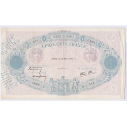 BILLET FRANCE 500 FRANCS BLEU et ROSE 30-03-1939 L'art des gents  Numismatique Avignon