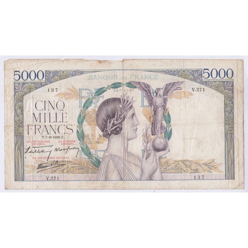 BILLET FRANCE 5000 FRANCS VICTOIRE 07-09-1939 L'art des gents Numismatique Avignon