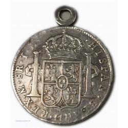 Espagne - 8 Réales 1806 CARLOS IIII, montée en médaille