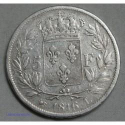 Louis XVIII 5 FRANCS 1816 L (BAYONNE), lartdesgents.fr