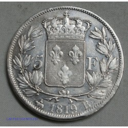 Louis XVIII 5 FRANCS 1819 B (ROUEN), lartdesgents.fr
