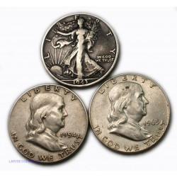 USA - Liberty  Half Dollar 1943 S +1954 S + 1963 D , lartdesgents.fr