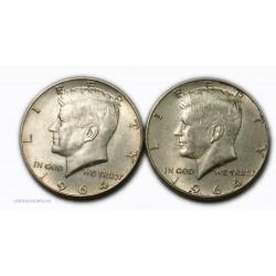 USA - Liberty 2 x Half Dollar 1964 , lartdesgents.fr
