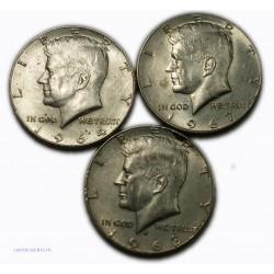 USA - Liberty   Half Dollar 1964, 1967, 1968, lartdesgents.fr