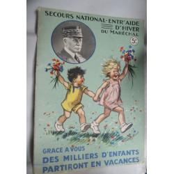 GERMAINE BOURET - POCHETTE AVEC 5 DESSINS EDITEE POUR LE SECOURS NATIONAL ENTR'AIDE D'HIVER DU MARECHAL PETAIN