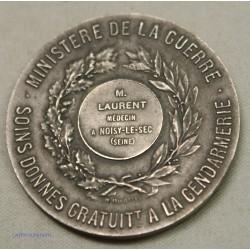 Médaille Ministère guerre Soins gratuit à la Gendarmerie, Attribuée