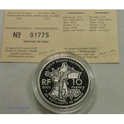 Les Monuments de FRANCE - 10 Francs 2001 BE Notre Dame de Paris