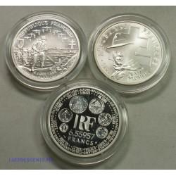 LOT DE BELLE EPREUVE, 1 franc, 6.55957 francs et 100 francs à voir, lartdesgents.fr