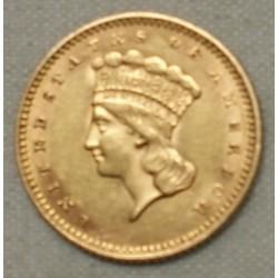 USA, 1$ or dollar 1862 tête Princesse Indienne, lartdesgents.fr