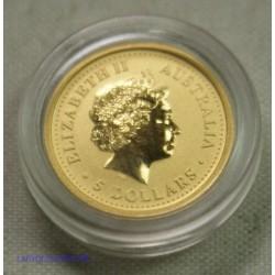 Australie - 5 dollars 2007 gold 999/9 1/20 once, Année du cochon, lartdesgents.fr