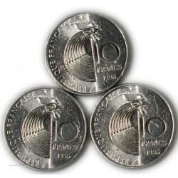 lot de 3 x 10 Francs SCHUMANN 1986, lartdesgents.fr
