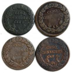 lot de 5 centimes DUPRE an 5 A, AA, BB, I, D, R, W et rare An 6BB