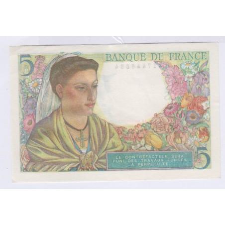 Billet 5 Francs Berger 05-04-1945 NEUF L'ART DES GENTS Numismatique Avignon