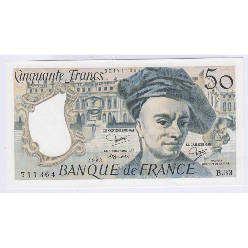 Billet 50 Francs Quentin de la Tour SPL 1983 L'ART DES GENTS Numismatique Avignon
