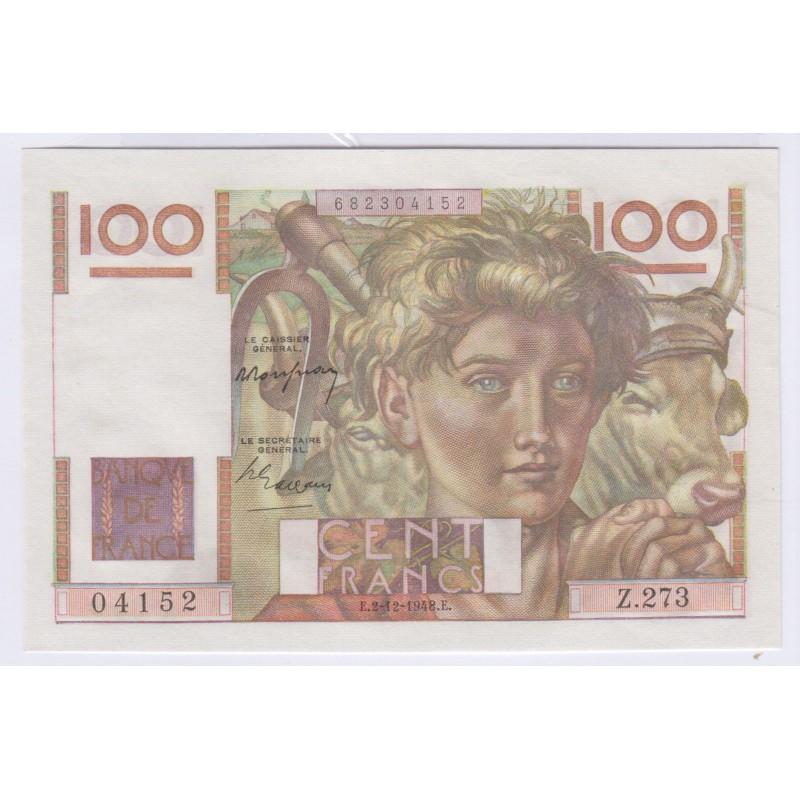 Billet 100 Francs  Jeune Paysan 2-12-1948 Neuf L'ART DES GENTS Numismatique Avignon