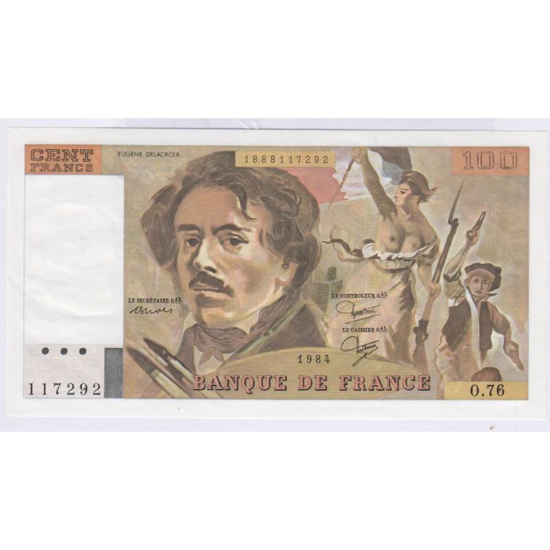 Billet 100 Francs Delacroix 1984 Neuf L'ART DES GENTS Numismatique Avignon