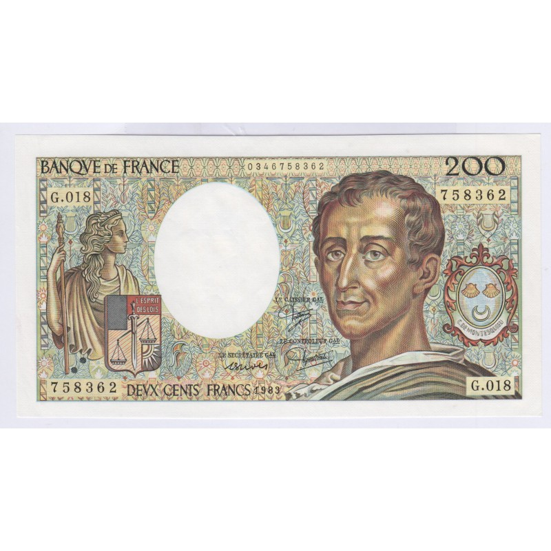 Billet 200 Francs Montesquieu 1983 Neuf L'ART DES GENTS Numismatique Avignon