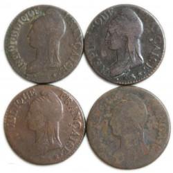 lot de 5 centimes DUPRE an  7 A, 7A/R, CONTREMARQUE, 7BB, 7/5BB, 7D, 7K, 7W/A