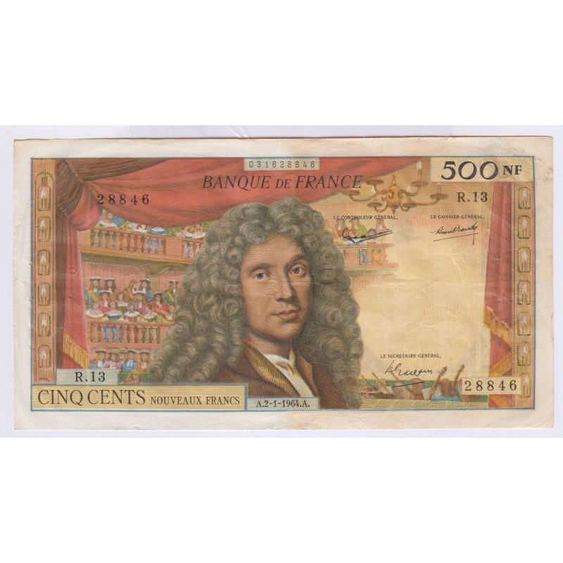 Billet 500 Nouveaux Francs Molière TB+ L'ART DES GENTS Numismatique Avignon