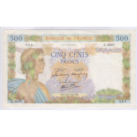 Billet 500 Francs La Paix 12-02-1942 sup+  L'ART DES GENTS Numismatique Avignon