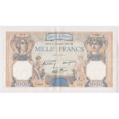 Billet 1000 Francs Cérès et Mercure 3-11-1938 L'ART DES GENTS Numismatique Avignon