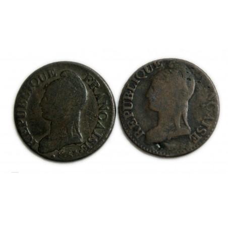 lot de 5 centimes DUPRE An  9BB et An 9 G, lartdesgents.fr