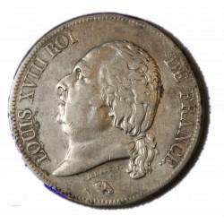 LOUIS XVIII - écu 5 Francs 1824 Q PERPIGNAN TTB