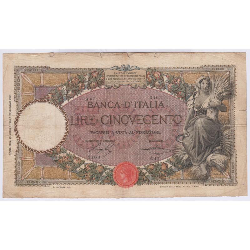 Italie 500 lire rare 19-04-1926