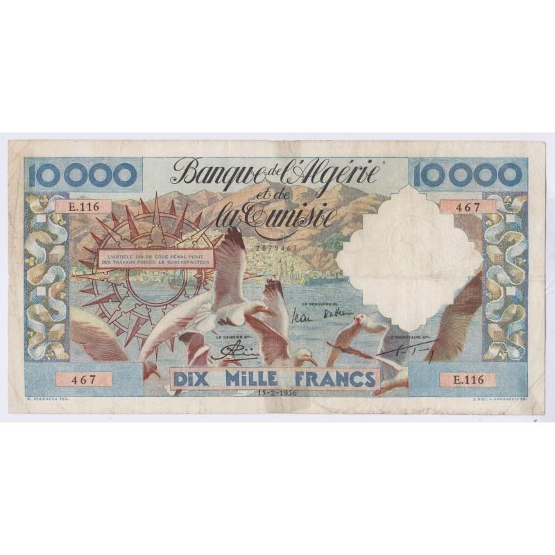 BILLET Algérie Tunisie 10000 Francs 15-02-1956 L'art des gents Numismatique Avignon