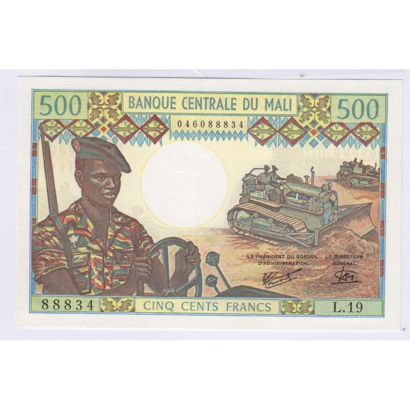 500 Francs billet Mali l'art des gents