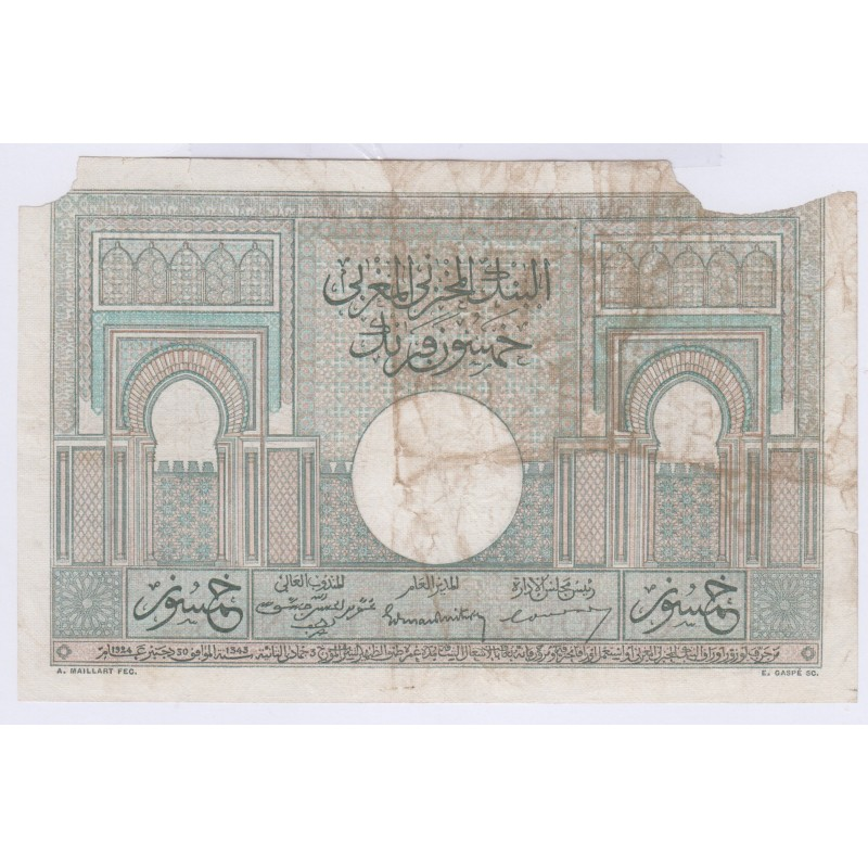 BILLET Maroc 50 Francs 28-10-1947 L'art des gents Numismatique Avignon