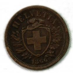 Suisse - 2 rappen (2 centimes) 1866 jolie monnaie, lartdesgents