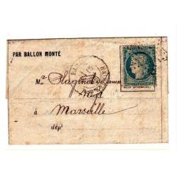 Siège de Paris: Ballon monté Parmentier 15 décembre 1870