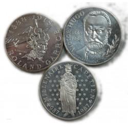 lot de 3 x 10 Francs argent 1985, 1987, 1988, lartdesgents.fr