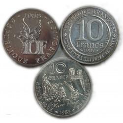 Lot de 3 x 10 Francs argent 1985, 1987, 1988, (2)