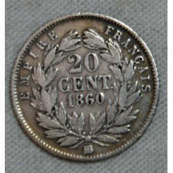 FRANCE NAPOLEON III- 20 Centimes  1860 BB Strasbourg (2) TB cote 20€