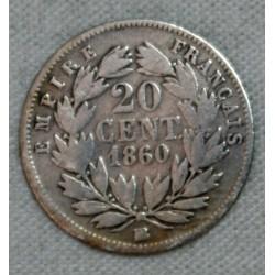 FRANCE NAPOLEON III- 20 Centimes 1860 BB (4) TB cote 20€