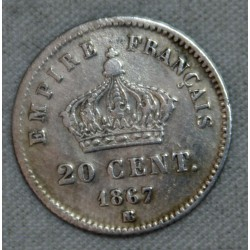 FRANCE NAPOLEON III - lot 20 Centimes 1867 BB et 1867 A