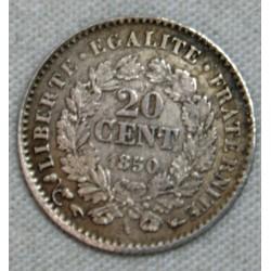 FRANCE - 20 Centimes 1850 A (3) (oreille haute) TTB cote 35€