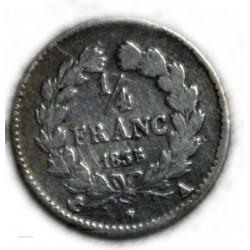 FRANCE Louis Philippe Ier 1/4 Franc 1835 A Paris , lartdesgents.fr
