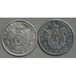 Napoléon III lot de 1 Franc 1866 A & 1868 BB, chez lartdesgents.fr